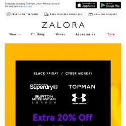 [Zalora] Top Brands: EXTRA 20% off! Fill your cart now!