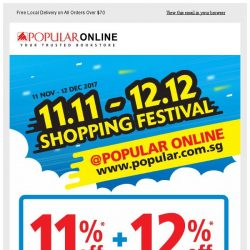 [Popular] Don't Miss Out The POPULAR Online Shopping Festival. 11%+12% off Web Storewide!