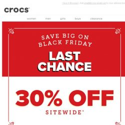 [Crocs Singapore] Ends tonight: 30% OFF Everything with Free Shipping. What Are You Waiting For?