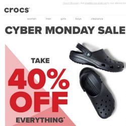 [Crocs Singapore] 40 % OFF Crocs' CYBER MONDAY MADNESS starts now! 24 hours only! Happy Cyber Monday!