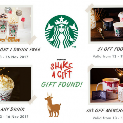 Starbucks: Enjoy $2 OFF Any Drink, 15% OFF Merchandise Item, FREE Drink with Any 2 Drinks Purchased & $1 OFF Food Item!