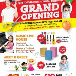 [Cristofori Music School] CRISTOFORI MUSIC SCHOOL opens another exciting outlet at Sengkang Community Club,  04-01.