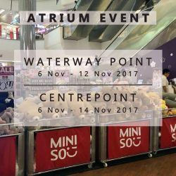 [Miniso] Join us at the Miniso Atrium Fair happening this week at Waterway Point and Centrepoint and snag some great deals!