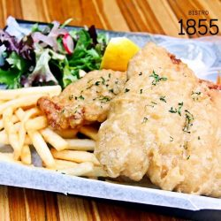 [Bistro 1855] Bistro 1855 probably offers the best Fish & Chips in town, Fried Battered Snapper Fillets with Shoes string Fries and Tartar