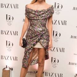 [Tyan] Natasha Poly in a floral sequin corseted mini dress from the Vivienne Westwood Couture Collection, at the Harper's Bazaar
