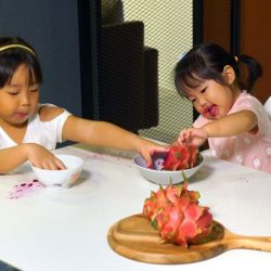 [Cellini] See how the KAY Quartz top dining table handles these two adorable girls and their dragonfruit!