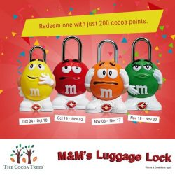 [The Cocoa Trees] Choose from 4 vibrant coloured M&M's Luggage Lock and save $13.