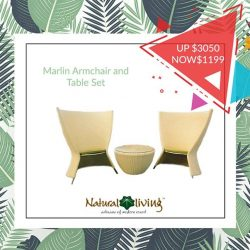 [Natural Living] Today, we will be presenting to you three sets of comfortable chair-and-table sets with more than 50% discount.