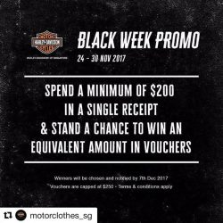 [Harley-Davidson] Repost @motorclothes_sg (@get_repost) ・・・ Our black week promo starts tomorrow!