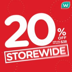 [Watsons Singapore] Enjoy STOREWIDE 20% OFF with min.