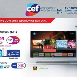 """[Sony Singapore] Experience entertainment in a new light on the 55"""" BRAVIA™ X8500E Android™ TV, now available at CEF 2017 at only"""
