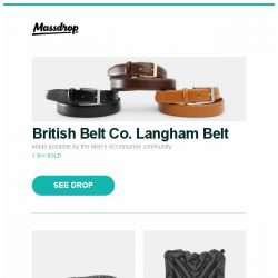 [Massdrop] British Belt Co. Langham Belt, EDC Starter Bundle, Klymit V Seat (2-Pack) and more...