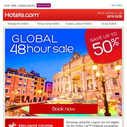[Hotels.com] [48 hours only] Save up to 50% + save an extra 8%