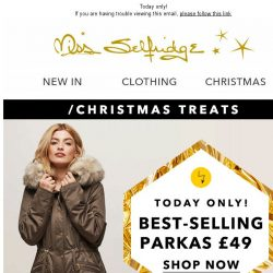 [Miss Selfridge] Our best-selling parka - only £49!
