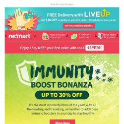 [Redmart] 15% OFF + Up to 30% OFF immune boosters! 🍊