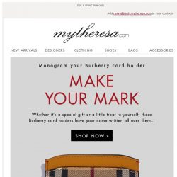 [mytheresa] Unique to you: monogram your Burberry card holder now