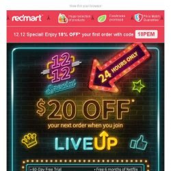 [Redmart] STACK your savings this 12.12! $20 OFF + 18% voucher code, just for you!