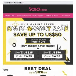 [SaSa ] 【12.12 Online Fever】Enjoy US$50 Coupon & Save up to 90% OFF!