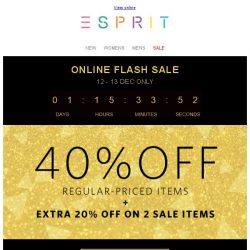 [Esprit] It's 12.12! Online only flash Sale - 40% off!*