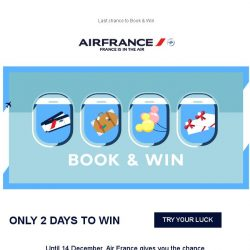 [AIRFRANCE] Book & Win: try your luck to win prizes!