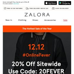 [Zalora] 🔥 12.12 The Hottest Sale of the Year: EXTRA 20% off Sitewide!