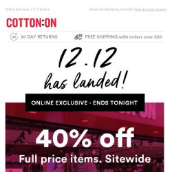 [Cotton On] 40% Off Sitewide! Hurry, Ends Tonight!
