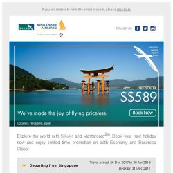 [Singapore Airlines] From just SGD189, we have made the joy of flying priceless.