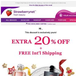 [StrawberryNet] , this Extra 20% Off + Free Int'l Shipping is Exclusively Yours!