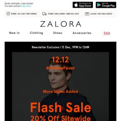 [Zalora] 🚨 3h FLASH SALE: Extra 20% off sitewide - more styles added!