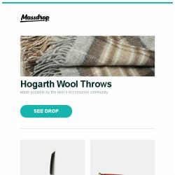 [Massdrop] Hogarth Wool Throws, Cold Steel Tantos w/Large 3V Blades, Oakley Ferrari Carbon Iridium Sunglasses and more...