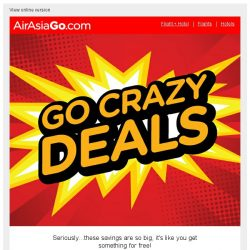 [AirAsiaGo] 🔆  Go Crazy Deals | Earn 1 Night FREE!  🔆