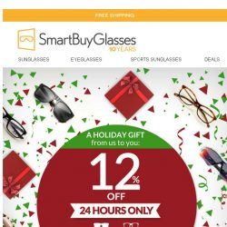 [SmartBuyGlasses] Our gift to you: 12% off sitewide, for the gifts you'll give this holiday season 🎁