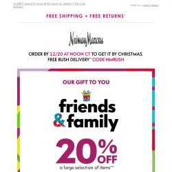 [Neiman Marcus] 20% off: FRIENDS & FAMILY is here + jewelry reward
