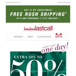 [Last Call] 1 DAY: extra 40%–50% off SITEWIDE