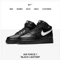 [Nike] Get it Now: Air Force 1 'Black Leather'