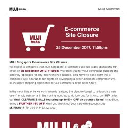 [Muji] MUJI Singapore E-commerce Site Closure
