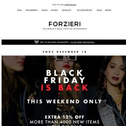 [Forzieri] BlackFriday is back | 48 Hours Only, Holidays Edition