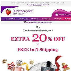 [StrawberryNet] Hi , Your Extra 20% Off + Free Int'l Shipping Expires Tomorrow!