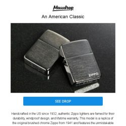 [Massdrop] Zippo Lighters: 1941 Replica: American Made With a Lifetime Warranty for $14.49