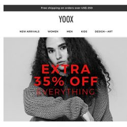 [Yoox] Unwrap your gift: 35% off everything