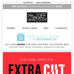 [Saks OFF 5th] Hurry: Extra 25% OFF clearance ENDS TODAY!