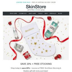 [SkinStore] Save 20% + Receive a FREE SkinStore Stocking & Mystery gift!