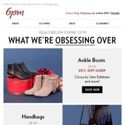 [6pm] Obsessions: Ankle Boots, Handbags, Jackets & More