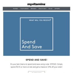 [MyVitamins] Spend £35 and Save an Extra 30%...