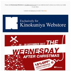 [Books Kinokuniya] It's The WEBnesday After Christmas! Enjoy 15% Off* WEBstorewide from 26th to 28th December 2017, exclusively for online purchase.