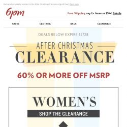 [6pm] Starting at 60% off: After Christmas Clearance!