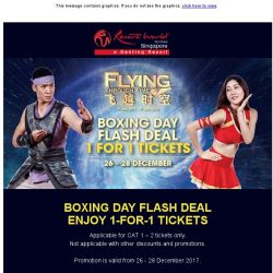 [Resorts World Sentosa] Boxing Day 1-For-1 FLYING Through Time Flash Deal