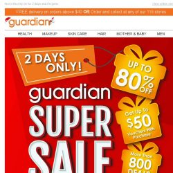 [Guardian] Our Final Sale of the Year is here. Up to 80% on over 800 deals ⚡