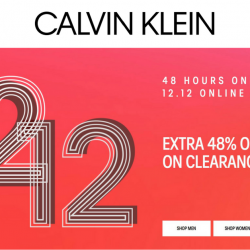 Calvin Klein Singapore: 12.12 Online Sale with Extra 48% OFF on Clearance Items