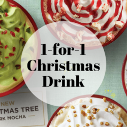 Starbucks: Enjoy 1-for-1 Christmas Drink from 3pm to 5pm!